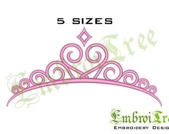 PRINCESS TIARA Embroidery Design Tiara CROWN Machine Embroidery Design Princess Crown Embroidery File Download