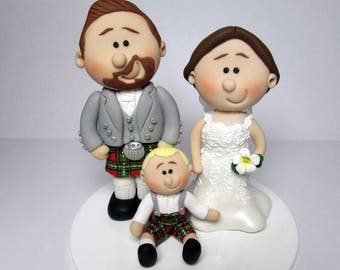 Wedding Cake Topper,  Bride And Groom with a child, Custom made to order, wedding cake figurines, cake decoration