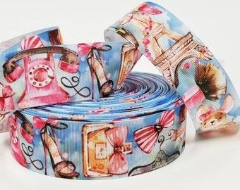 "1.5"" inch Paris Theme Eiffel Tower Perfume Shoes Puppy Make up Printed Grosgrain Ribbon for Hair Bow - Original Design"