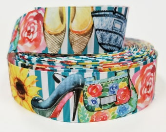 "1.5"" inch Fashion Theme Shoes Purse Flats Heels Flowers on teal white Stripes  -  Printed Grosgrain Ribbon for Hair Bow - Original Design"