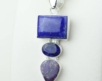 Best Color! Lapis Amethyst 925 S0LID Sterling Silver Pendant + 4MM Snake Chain p4178