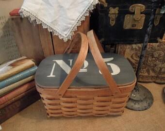 Vintage Woven Splint Basket / Chalk Painted #5 Lid / Market Picnic Basket / Storage Organization / Rustic Farmhouse Decor