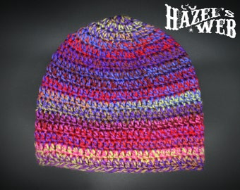 Crocheted Fitted Psychedelic Beanie