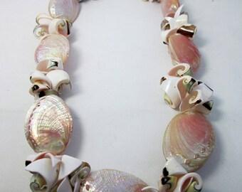 Pink Mermaid Necklace Seashell Bracelet Beach Wedding Jewelry Set Statement Jewelry Cruise Vacation Jewelry Honeymoon Gift Bridal Shower
