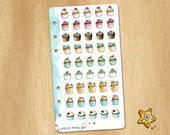 Mini Watercolor Stickers of Winter Cupcakes - Perfectly Fitting Planners Like Filofax Personal or Kikki.k Medium