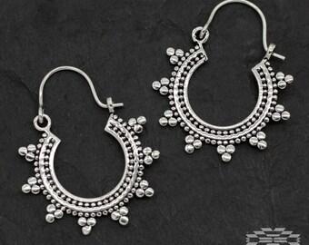 Silver tone hoops, tribal earrings, tribal hoops, boho earrings, Gipsy Earrings, Tribal Jewellery,Indian earrings