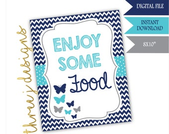 Butterfly Baby Shower Food Table Sign - INSTANT DOWNLOAD - Navy Blue, Teal and Gray - Digital File - J007