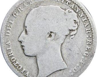 1872 Shilling Victoria Silver Great Britain Coin