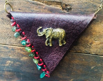 Leather Neck Wallet, Elephant Purse, Red Purse, Leather Neck Pouch, Stash Necklace