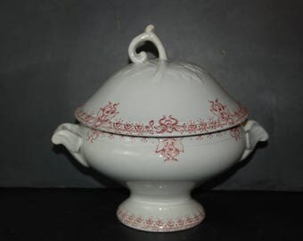Beautiful shabby chic antique French soup tureen,  dish with lid in white ironstone, pink decor from Saint Amand, Orchidées model