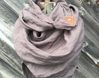 Tan linen scarf with leather detail