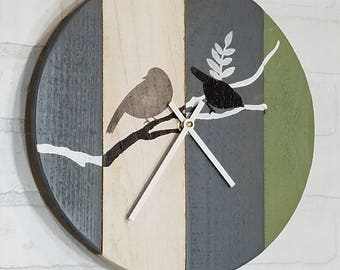 Round Wood Wall Clock - Two Little Birds