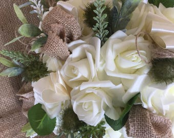 Ivory rose and rustic hessian large bridal bouquet