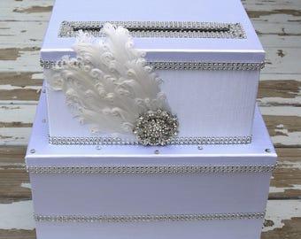 wedding card box, feather card box, bling wedding card holder, Gatsby, card box for wedding, wedding gift box, three tier card box
