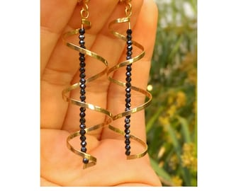 gold dangle earrings, black jewelry, Long gold earrings, gold spinel earrings, black spinel earrings, gold spiral earrings, spinel earrings