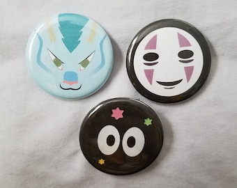 "SPIRITED AWAY: 1.25"" Pinback - Haku, No Face, Soot Sprite - Singular or Set"