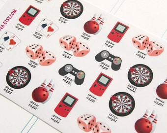 Game night stickers, planner stickers, agenda notebook journal stickers, reminder darts console rpg bowling play cards dice