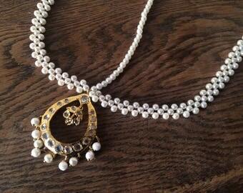 Indian hyderabadi Jewelry tika tikka Pakistani jewellery headpiece mathapatti pearls gold plated designer wedding Jewelry jhumar nizam