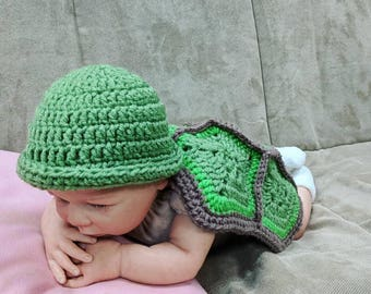 Newborn Turtle Outfit/Newborn Halloween Costume/Baby Turtle Outfit/Baby Photo Props/Baby Shower Gift/Newborn Turtle Costume/Turtle Hat