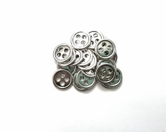 10 Zinc Based Alloy Silver Buttons, 3/4 inch 20 mm, 4 Hole Button, Round Button, Antique Silver Color Sewing Button, Scrapbooking Button