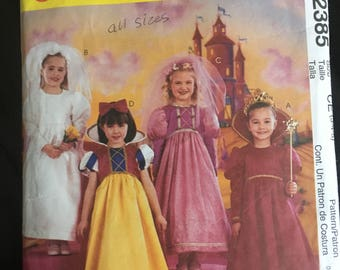Girls size 3, 4, 5 Princess Costumes Sewing Pattern