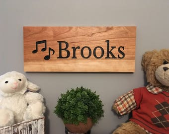 Nursery Boys-Personalized Wooden Name Sign-Name Sign-Engraved, Hand Painted Sign, Nursery Decor-Cedar Sign-Personalized Design