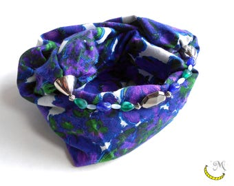 Cotton Scarf with beads. Foulard