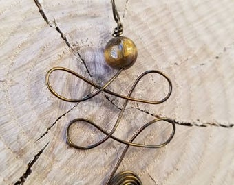 Tiger's Eye Unalome Pendant for Creative Enlightenment