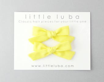 Baby bow set, pigtail hair bow, Baby Hair Bow, Girls hair Bow, Pigtail Bow Set, Pigtail Clips, Pigtail Bows, pigtail bow. YELLOW Pigtail Set