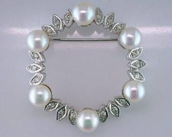 Antique Art Deco Pearl .35ct Diamond 14K White Gold Pin Brooch