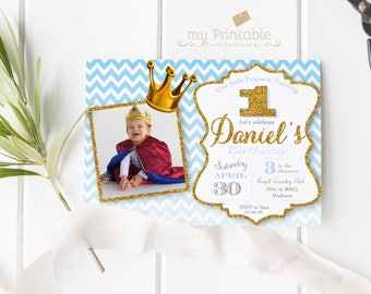 Little Prince Birthday Invitation with Photo / Printable