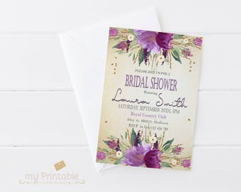 Watercolor and Sparkles Bridal Shower Invitation / Digital Printable Invite / DIY Floral Party