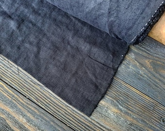 Softened charcoal linen fabric by the meter, natural linen charcoal dark grey washed stonewashed linen fabric by the yard tissu au metre