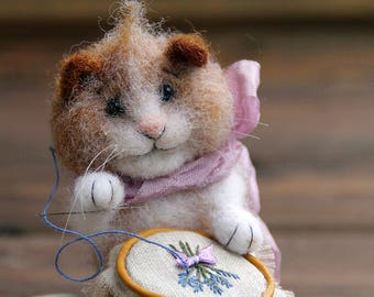 Needle felted embroidering cat ,  felted cat, needlewoman, felted toy, felt animal, eco-friendly, collectable miniatur