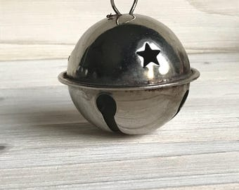 Taiwan Darice Craft Supplies Giant, Jumbo Large Metal Bell Ornament, Silver Jingle Bells, Christmas Bell, Christmas Tree Ornaments with Star