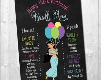 Birthday Stats Chart with Jasmine/Digital File/printable/any size/chalkboard, princess, balloons, birthday chart/wording can be changed