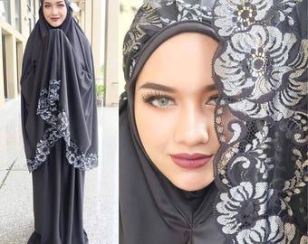 Prayer Dress Muslim Two-Piece Black Abaya Talakong Muslim Islamic Abaya Set Hajj Umrah