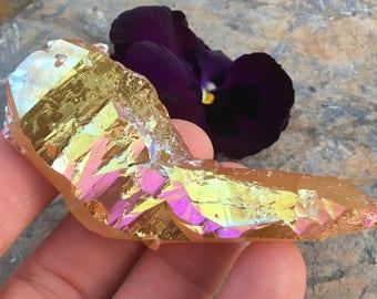NEW! SUNSET AURA Quartz Crystal Shard Point, Sunshine Aura Crystals, stones and minerals, healing crystals, shard, Fairy Angel Wings, rocks