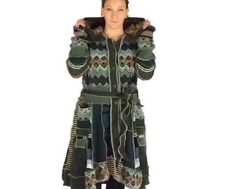"""Reanimated Hooded Sweater Jacket - """"Mother Knows"""" - L-XL - Upcycled Sweater Coat - Recycled Sweater Coat"""