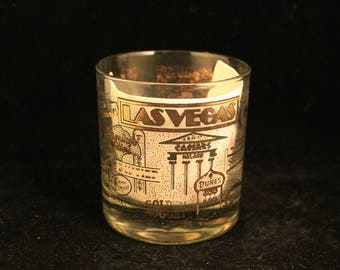 Vintage Las Vegas Hotels and Casinos Whisky Rocks Glass Tumbler Collectible Travel Souvenir Gift