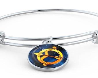 Zodiac Sign Sagittarius - Bangle Bracelet - Jewelry Gift For Her
