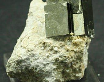 Golden Pyrite Cubes on Matrix, Spain- Mineral Specimen for Sale