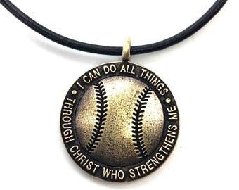Baseball Necklace Brass