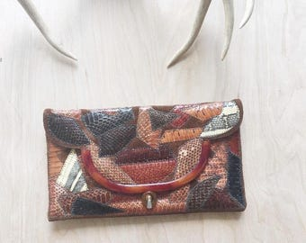 Original Caprice Clutch, snakeskin, python, patchwork, animal skin, snakeskin purse, leather purse, leather clutch, 80s purse, boho, brown