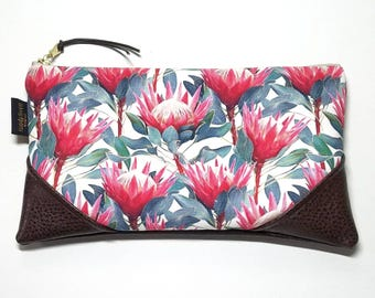 Large Red Protea Zipper Pouch / Clutch with inside lining and Zipper Pull or Leather Wristlet Strap
