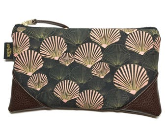 Large Black & Blush Seashells Zipper Pouch / Clutch with Zipper Pull or Leather Wristlet Strap