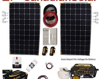600 to 2400 Watt Canadian Solar Solar Panels With Pure Sine Wave Inverter/Charger , MPPT Controller With Back Up Auto Start Generator