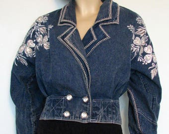1980s Jacket Denim Bling Hearts Cloverleafs Sequins 1980s Nat Lyn Collection