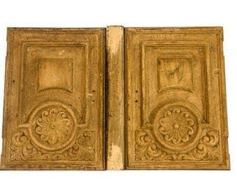 Antique Doors, Hand Carved Door, Hard Wood Doors, Cabinet Door, Rustic Pair