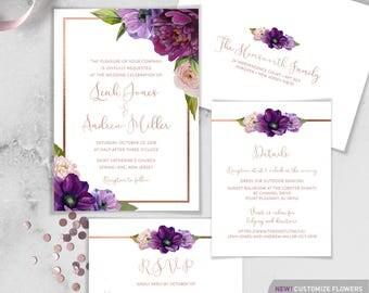 Purple Wedding Invitation Set / Purple Flowers, Anemone, Peony, Ranunculus, Rose Gold Fall Wedding ▷Printed Invitations {or} Printable